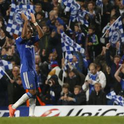 Chelsea's Didier Drogba reacts to the crowd after his team defeated Barcelona 1-0 in their Champions League semifinal first leg soccer match at Chelsea's Stamford Bridge stadium in London,Wednesday, April 18, 2012.