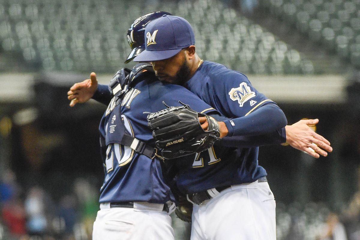 Luc an JJ celebrate Brewers win