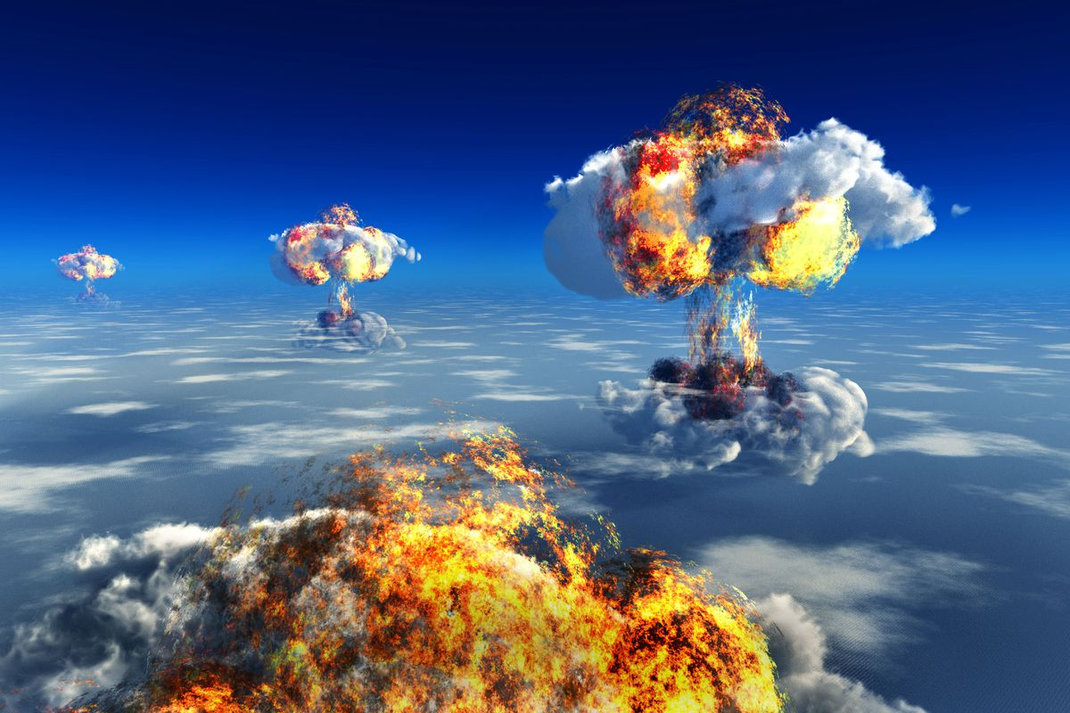 Illustration showing fiery mushroom clouds rising into the sky.