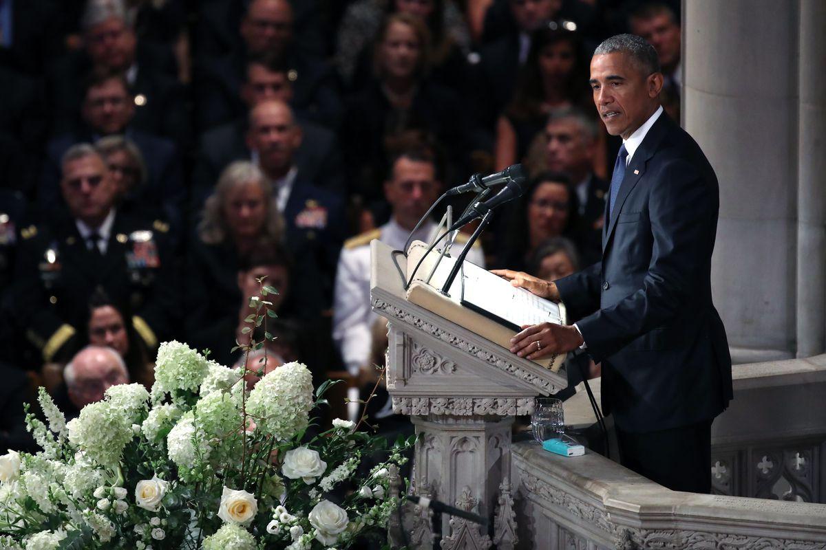 President Barack Obama speaks at the memorial service for Sen. John McCain at the National Cathedral in Washington, DC on September 1, 2018.