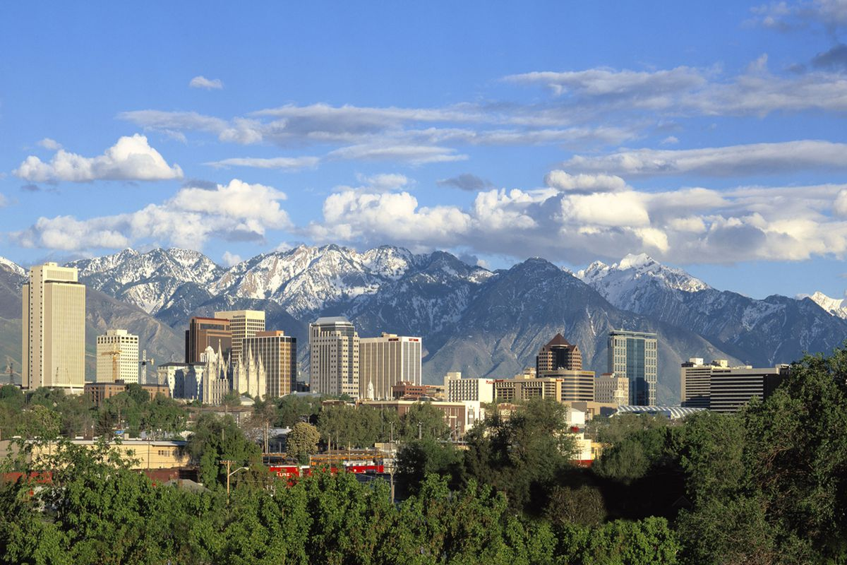 Downtown Salt Lake City, with the Wasatch Mountains in the background.