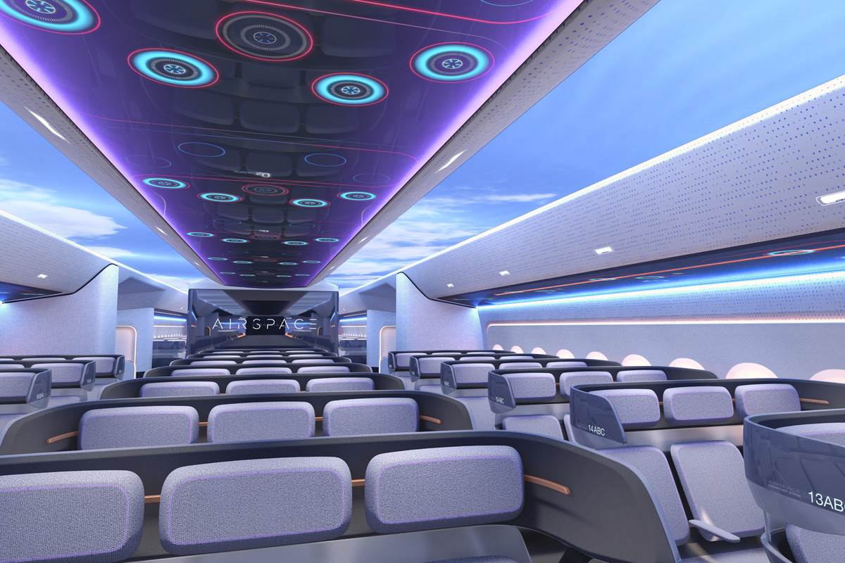 An artists's rendering of the interior seating and lighting of the new Airbus airplane.