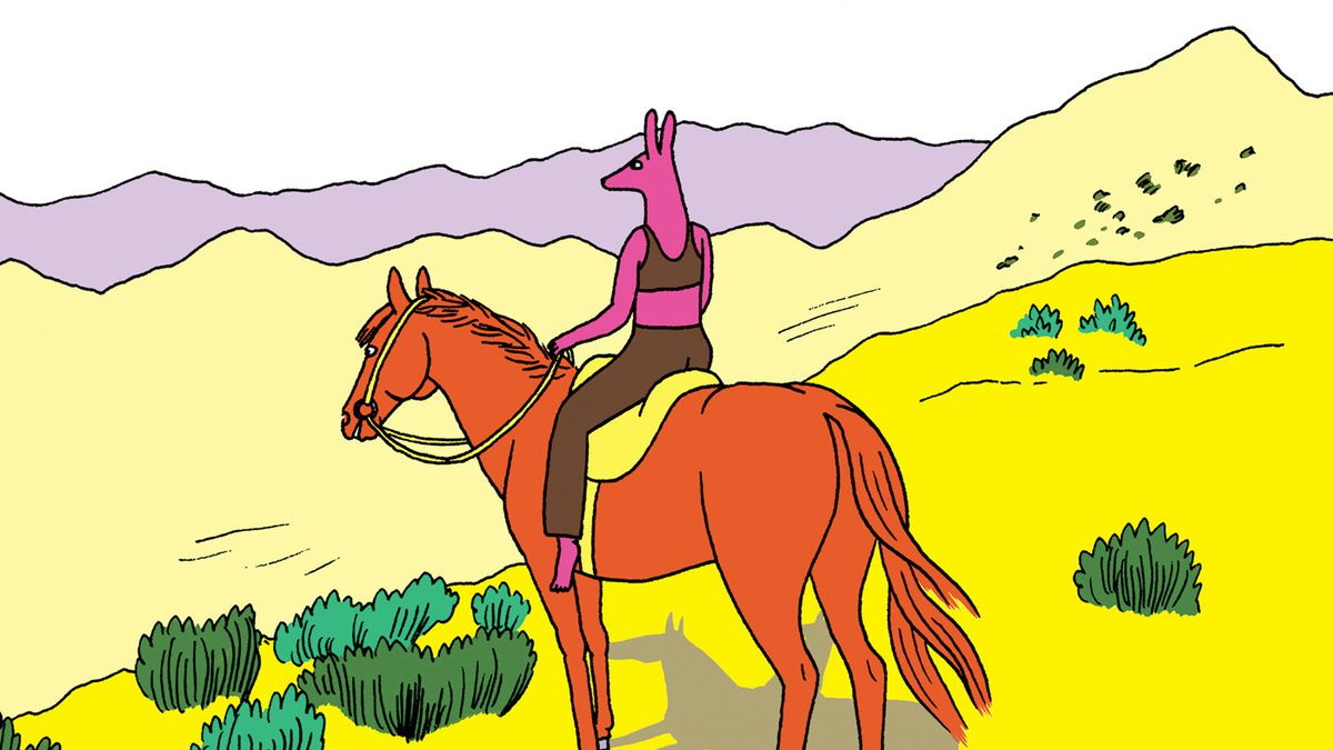 A pink dog-headed girl sits on the back of a horse on the side open range, on the cover of Coyote Doggirl, Drawn & Quarterly (2018).