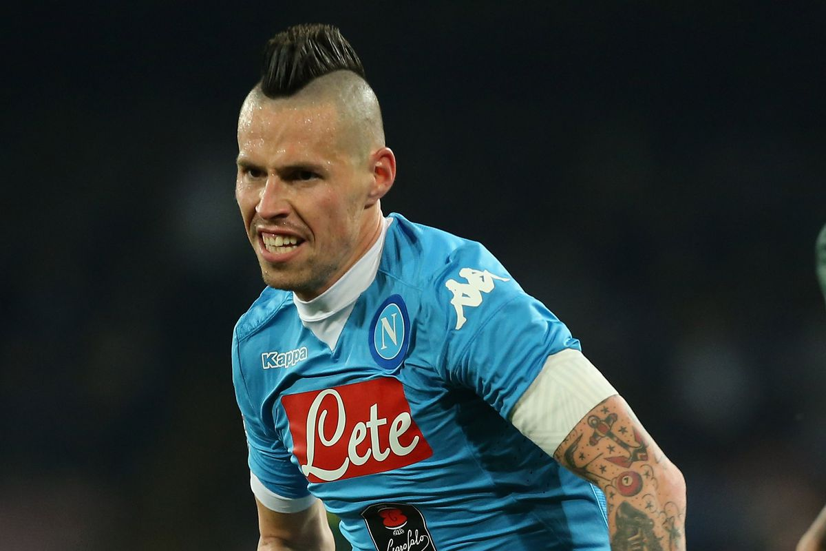 Marek Hamsik scores on a volleyed blast at the Villarreal goal to