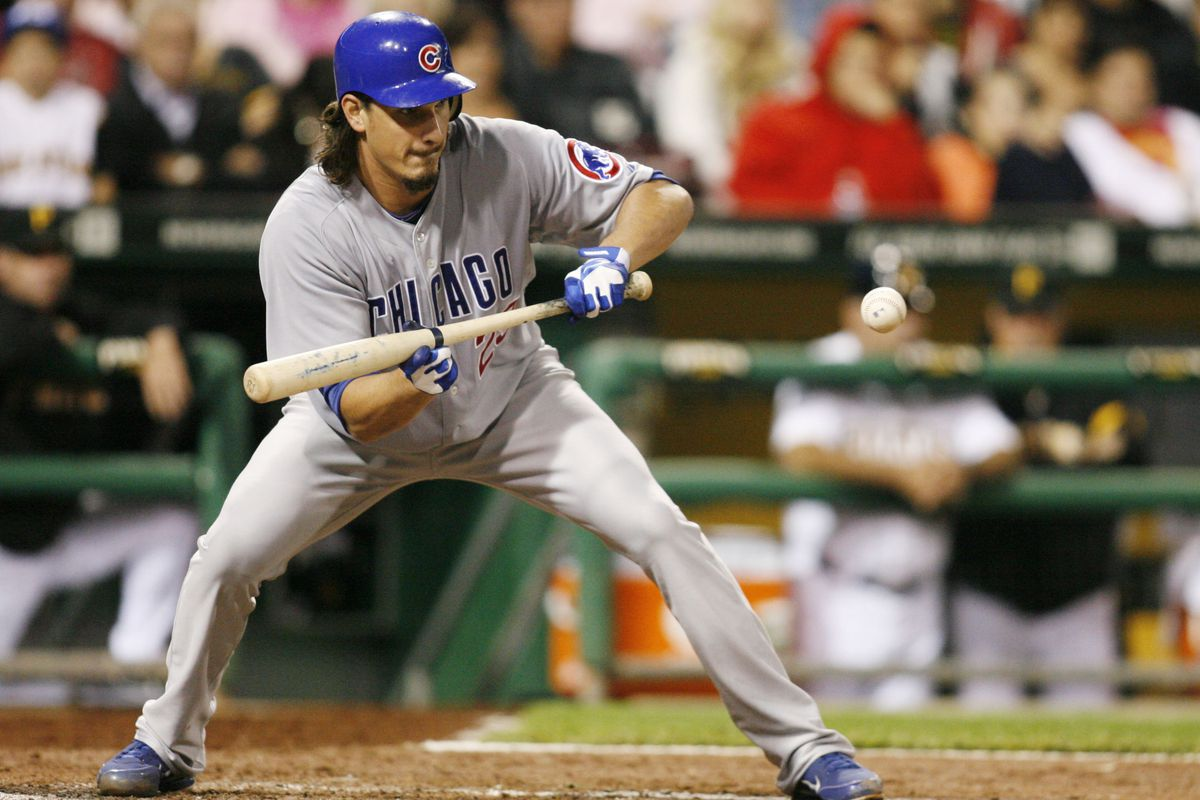 Pittsburgh, PA, USA; Chicago Cubs starting pitcher Jeff Samardzija lays down a sacrifice bunt against the Pittsburgh Pirates at PNC Park. The Chicago Cubs won 4-3. Credit: Charles LeClaire-US PRESSWIRE