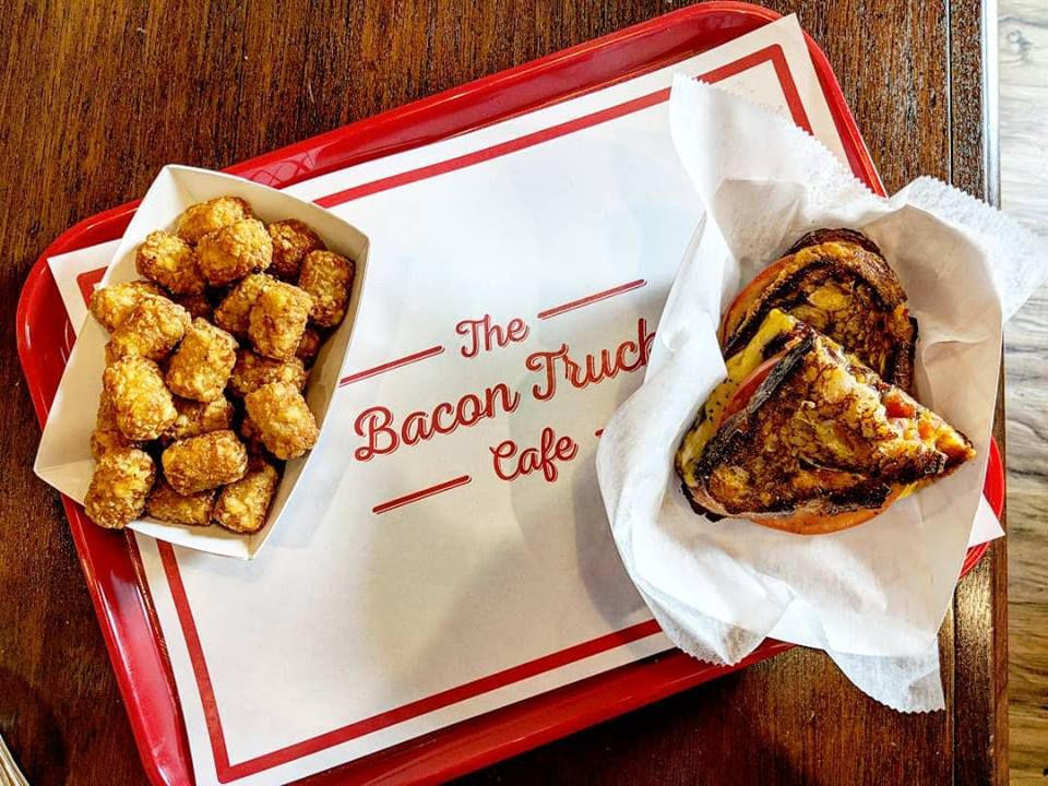 Grilled cheese at the Bacon Truck Cafe, with a side of tots