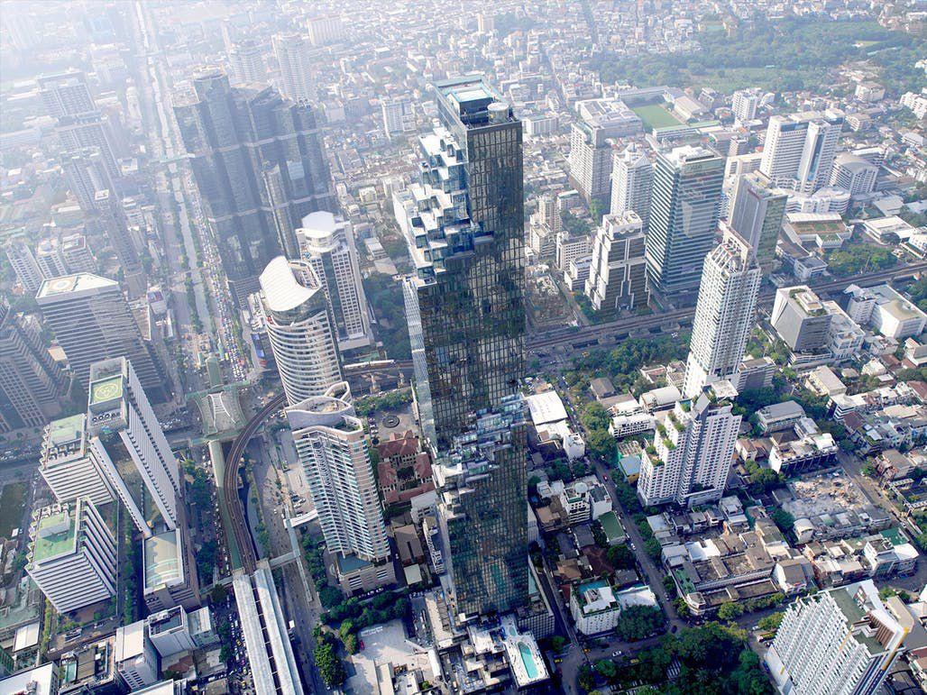 Aerial shot of skyscraper