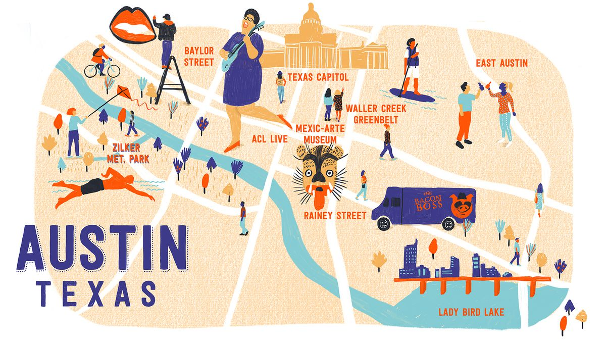 An illustrated map of Austin, TX.