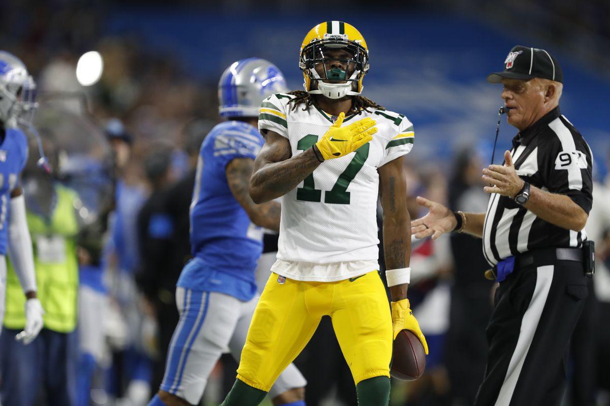 Green Bay Packers wide receiver Davante Adams reacts after making a catch against the Detroit Lions during the second quarter at Ford Field.