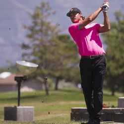 Jordan Rodgers tees off on the third day of the 78th Provo Open at East Bay Golf Course in Provo Saturday, June 10, 2017.