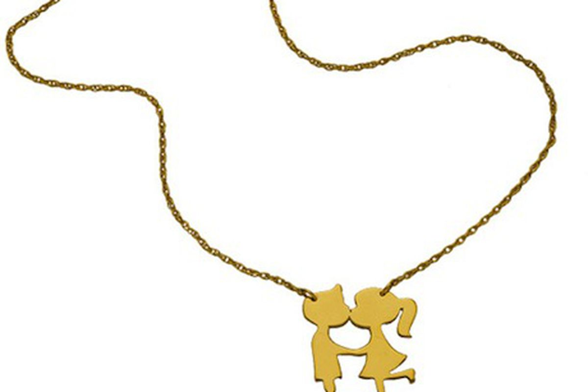 """Jennifer Zeuner's Boy/Girl Kissing Necklace, <a href=""""http://www.winknyc.com/index.php?main_page=product_info&amp;cPath=69&amp;products_id=3096"""">$176</a>"""