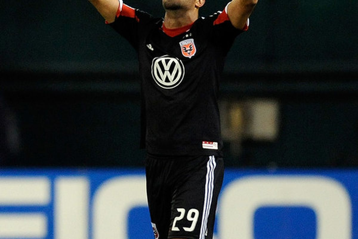 WASHINGTON, DC - APRIL 28:  Maicon Santos #29 of D.C. United celebrates after scoring a goal in the second half against the Houston Dynamo at RFK Stadium on April 28, 2012 in Washington, DC.  (Photo by Patrick McDermott/Getty Images)