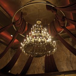 The chandelier over the dining room at Red Square.