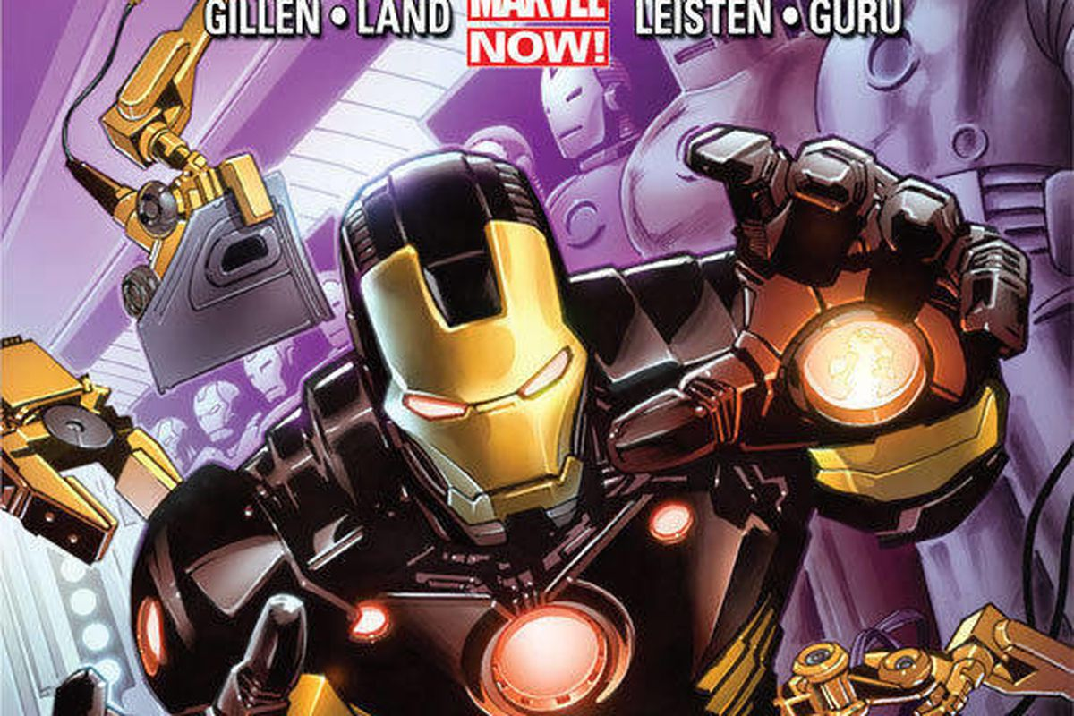"""This comic image released by Marvel Entertainment shows the cover of the upcoming """"Iron Man,"""" part of Marvel Comics' new initiative aimed at recharging the publisher's heroes and villains."""