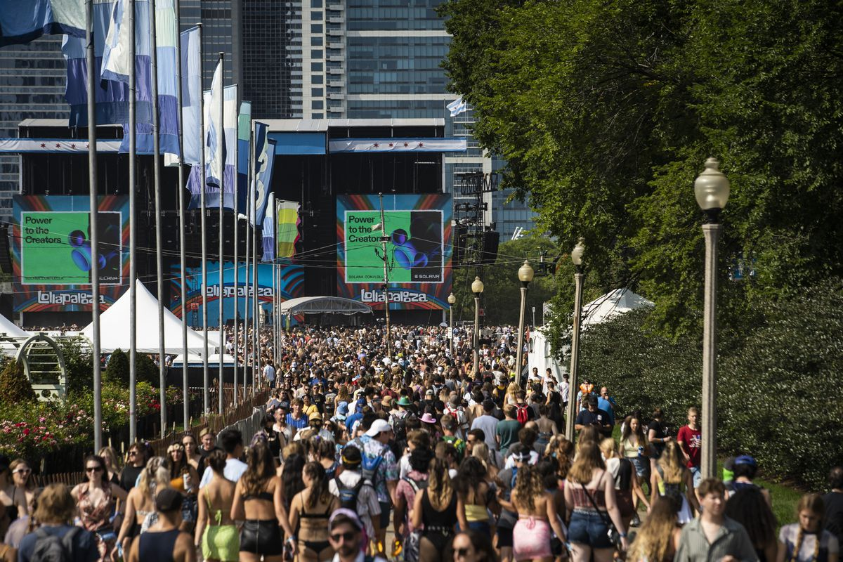Festival-goers flock to Grant Park for day three of Lollapalooza on Saturday.