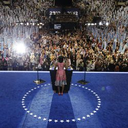 First Lady Michelle Obama speaks to delegates at the Democratic National Convention in Charlotte, N.C., on Tuesday, Sept. 4, 2012.