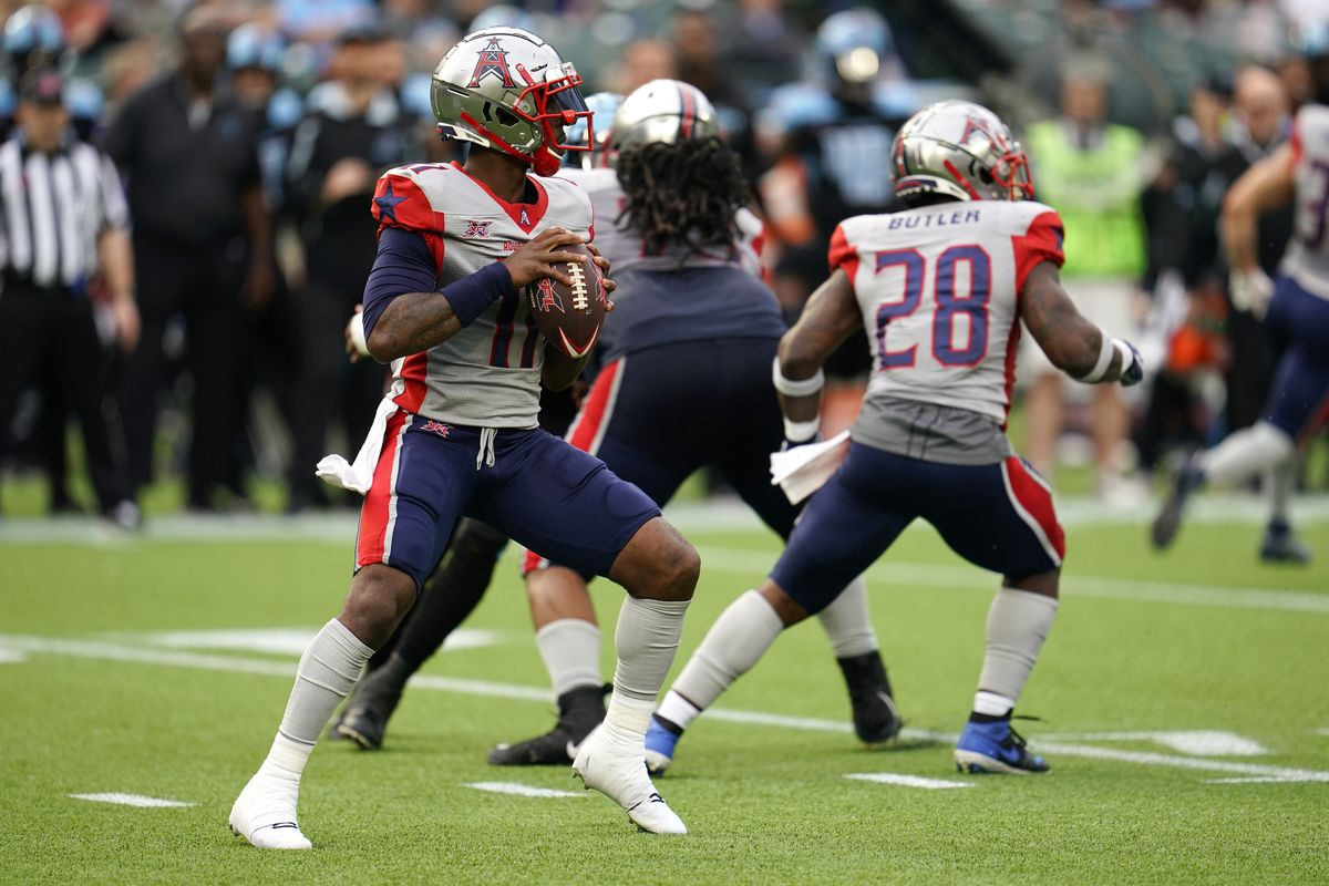 P.J. Walker of the Houston Roughnecks drops back to pass during the XFL game against the Dallas Renegades at Globe Life Park on March 1, 2020 in Arlington, Texas.
