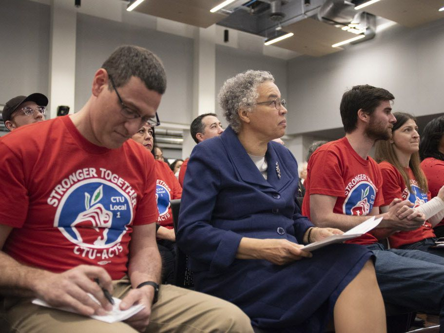 (Left to right) Chicago Teachers Union President Jesse Sharkey, Cook County Board President Toni Preckwinkle and Andy Crooks sit at the Chicago Teachers Union Headquarters at a news conference in December. File Photo. | Colin Boyle/Sun-Times