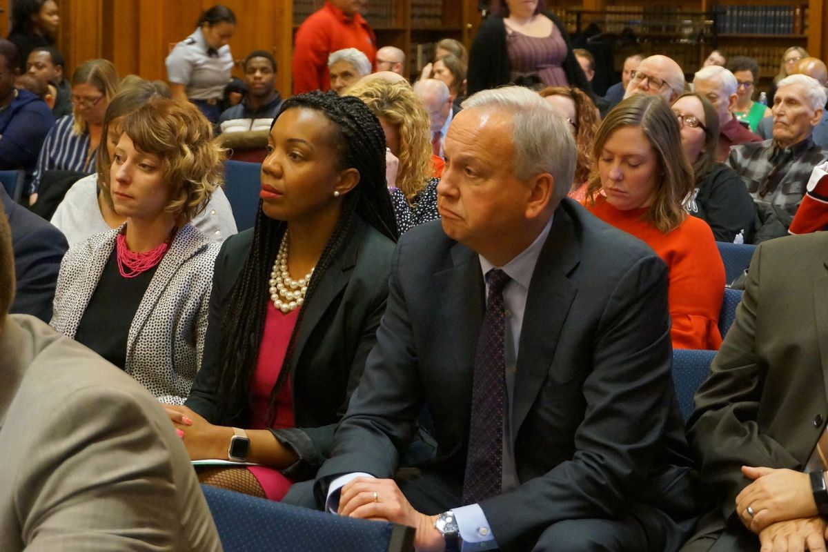 IPS Superintendent Aleesia Johnson sat with Bart Peterson, CEO of Christel House International, at the Indiana State Board of Education meeting. Christel House will run one of the school's returned to local control.