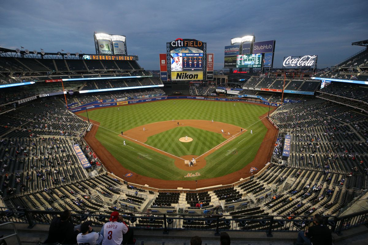 General view of Citi Field as Philadelphia Phillies starting pitcher Zack Wheeler (45) pitches to New York Mets shortstop Francisco Lindor (12) during the first inning.