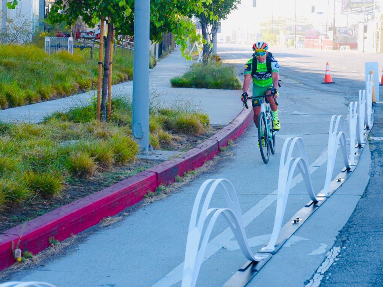 The lane delineator was installed for the CicLAvia event Sunday.
