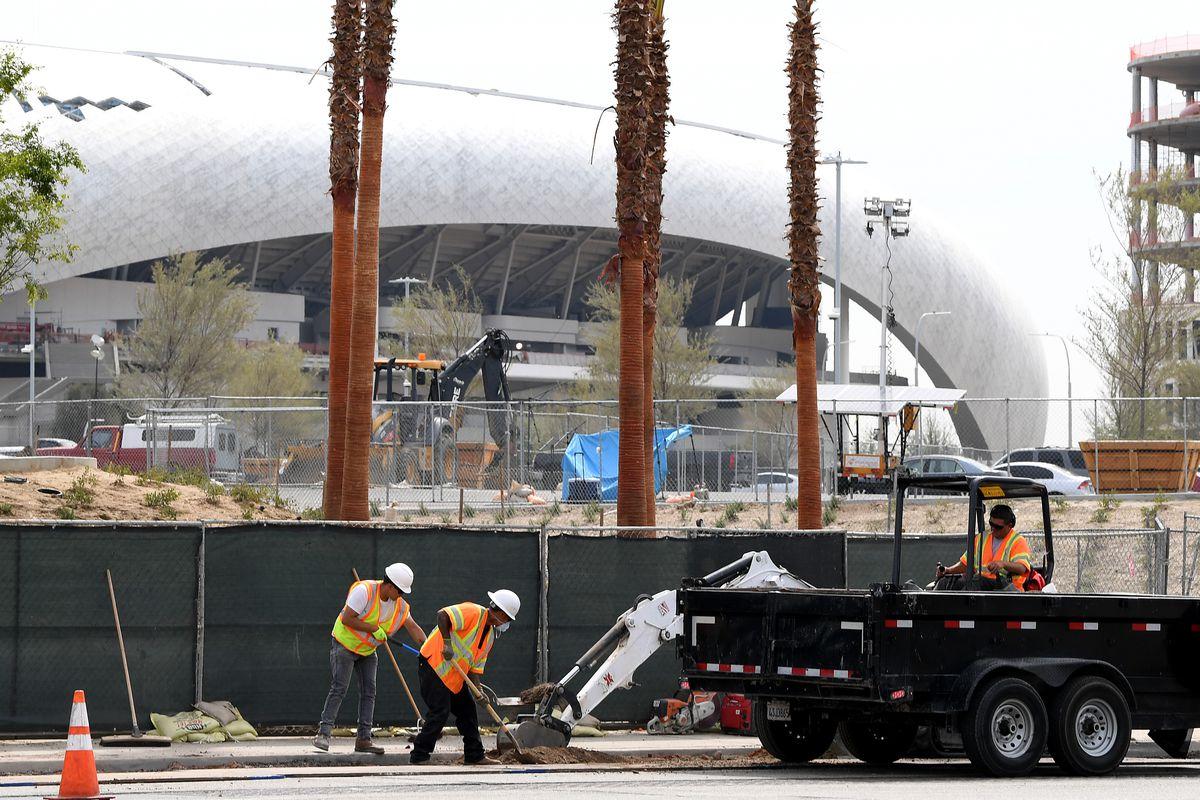 Workers Continue Construction on SoFi Stadium