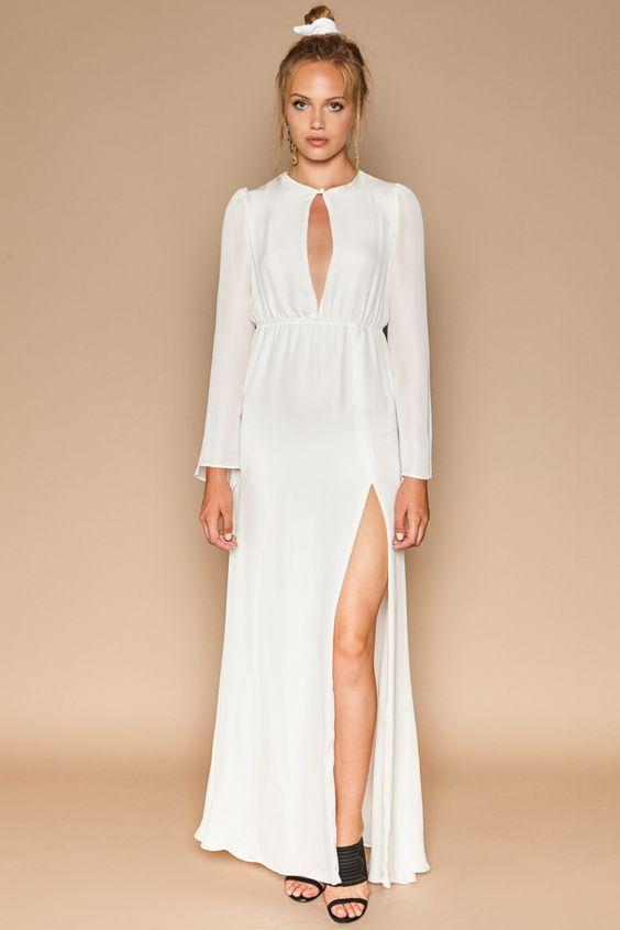 white cutout wedding dress