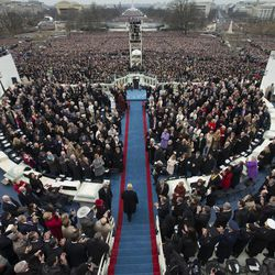 President Donald Trump arrives during the 58th Presidential Inauguration at the U.S. Capitol in Washington, on Jan. 20, 2017.