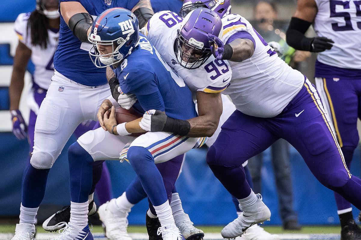 Minnesota Vikings defensive end Danielle Hunter sacked New York Giants quarterback Daniel Jones in the third quarter of an NFL football game at MetLife Stadium in East Rutherford, New Jersey.