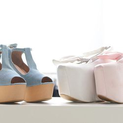 Footwear from Wildfox's collaboration with Jeffrey Campbell. Those ballerina flatforms are major.