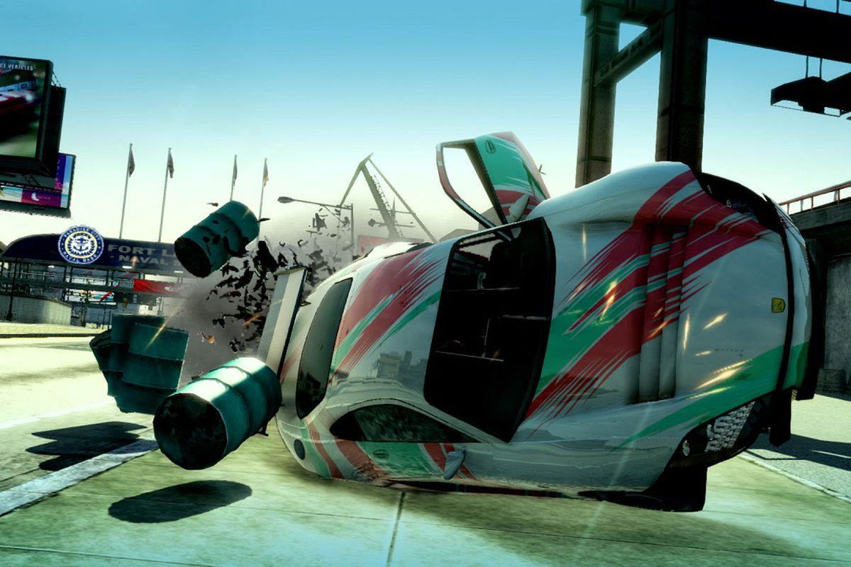 A car flips over in the Switch version of Burnout Paradise Remastered