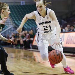 Brigham Young Cougars guard Lexi Eaton Rydalch (21) drives during the WCC tournament championship in Las Vegas Tuesday, March 8, 2016.  San Francisco won 70-68.