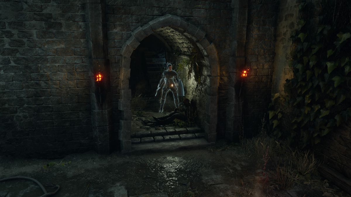 A screenshot of Demon's Souls, showing the location of the Cling Ring