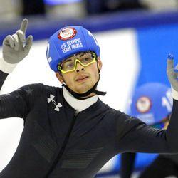 John-Henry Krueger (102) reacts after competing in the men's 1000-meters during the U.S.Olympic short track speedskating trials Sunday, Dec. 17, 2017, in Kearns, Utah. (AP Photo/Rick Bowmer)