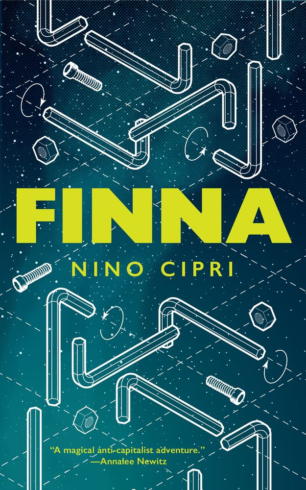 with screws and tools on the cover of Finna by Nino Cipri