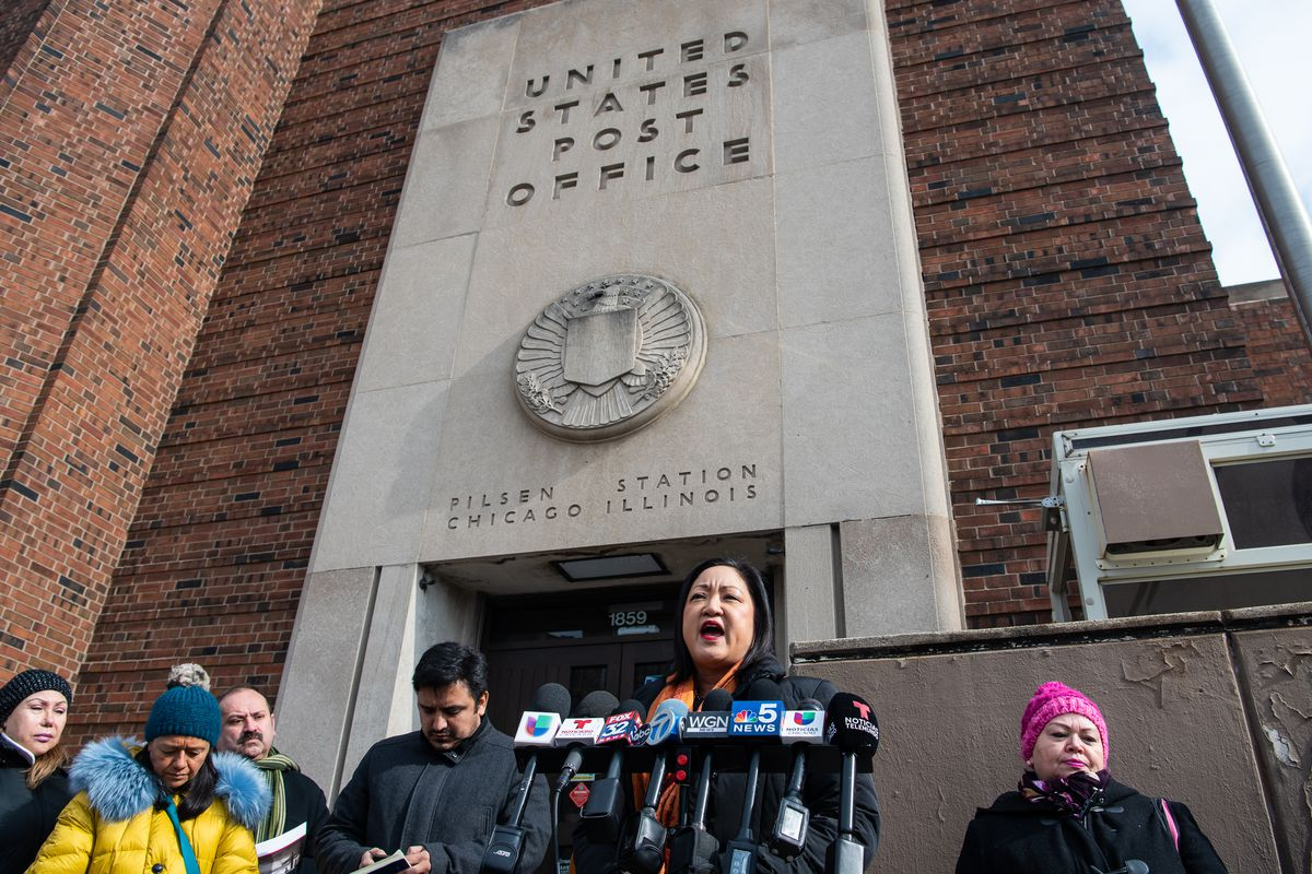 Theresa Mah, Illinois State Representative, speaks to media outside the post office in Pilsen about staff at this post office allegedly discriminating against non-English speaking customers. Monday, Feb. 10, 2020, in Chicago. | Tyler LaRiviere/Sun-Times