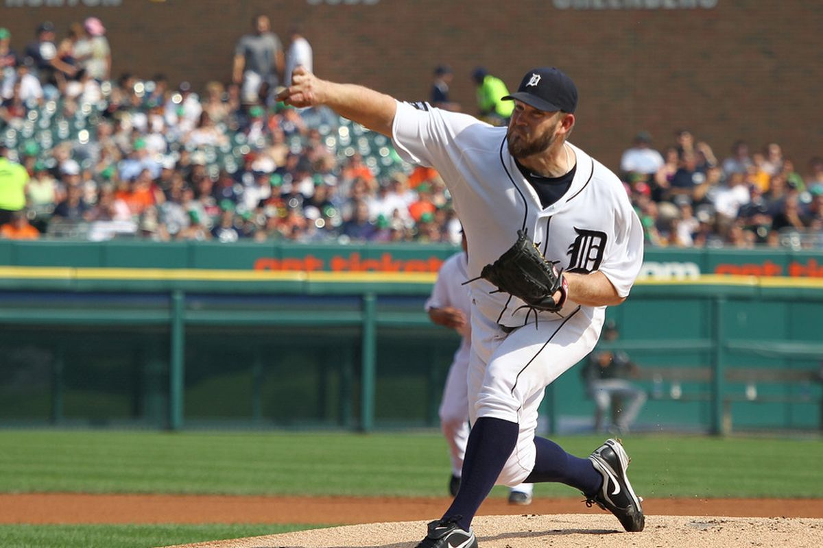DETROIT, MI - SEPTEMBER 03:  Starting pitcher Brad Penny #31 of the Detroit Tigers throws the ball during a MLB game against the Chicago White Sox at Comerica Park on September 3, 2011 in Detroit, Michigan.  (Photo by Dave Reginek/Getty Images)