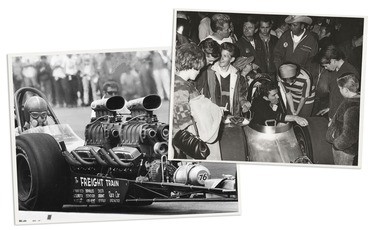 Two black and white photos. On the left, Bob Muravez as Floyd Lippencott driving the Freight Train up to the starting. On the right, Muravez seated in the Freight Train's cockpit, being greeted by fans with his helmet off after winning a race.