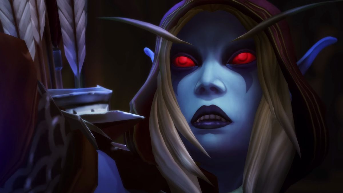 Sylvanas Windrunner looks up at an escaping foe.