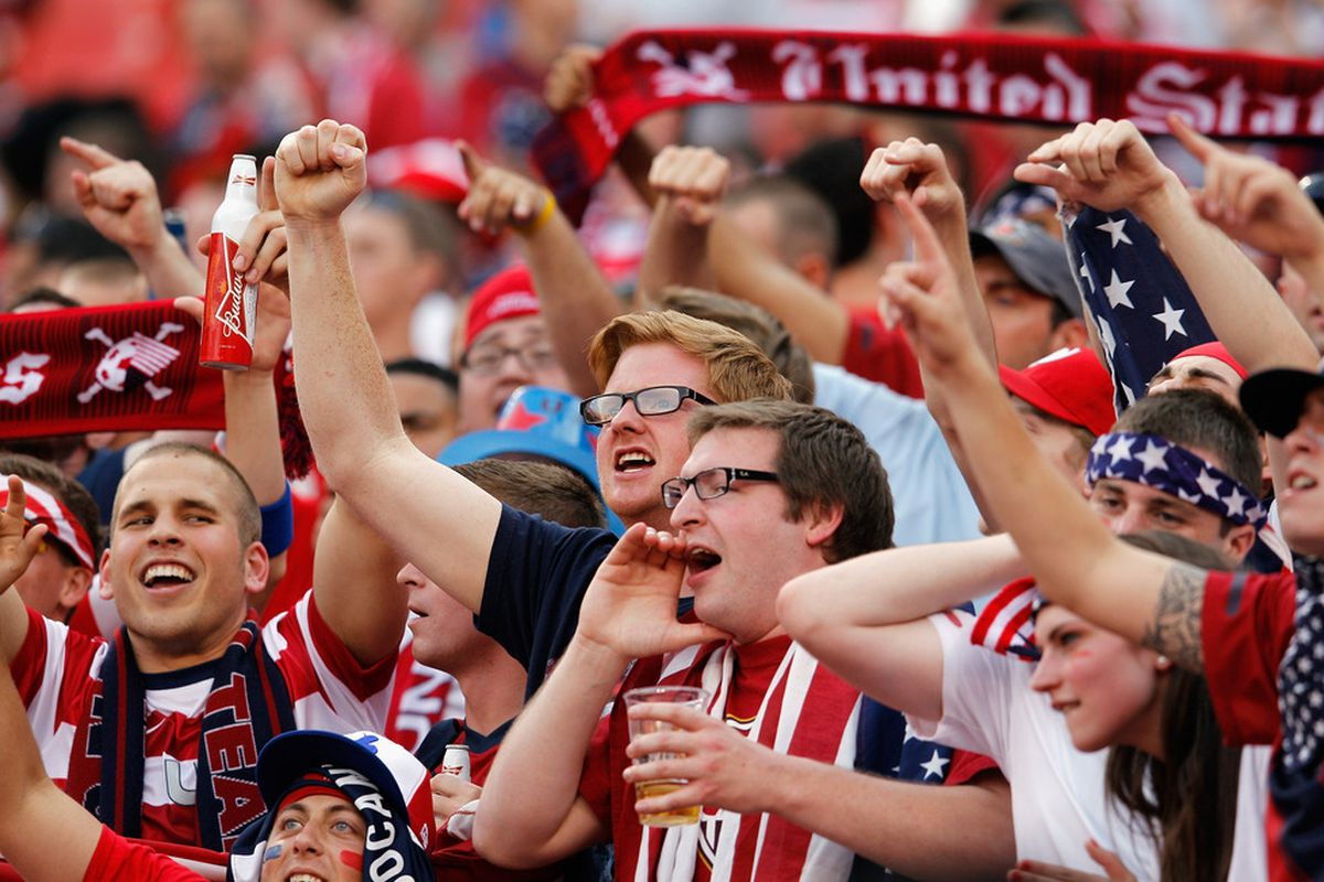 LANDOVER, MD - MAY 30: USA fans cheer during their game against Brazil during an International friendly game at FedExField on May 30, 2012 in Landover, Maryland.  (Photo by Rob Carr/Getty Images)