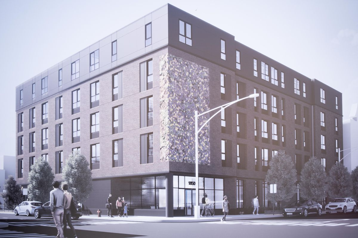 Renderings of Casa Durango, produced by DesignBridge, are displayed during the groundbreaking ceremony in the Pilsen neighborhood, Thursday morning, Sept. 16, 2021. The Resurrection Project, an organization in Pilsen, will be build Casa Durango. | Pat Nabong/Sun-Times