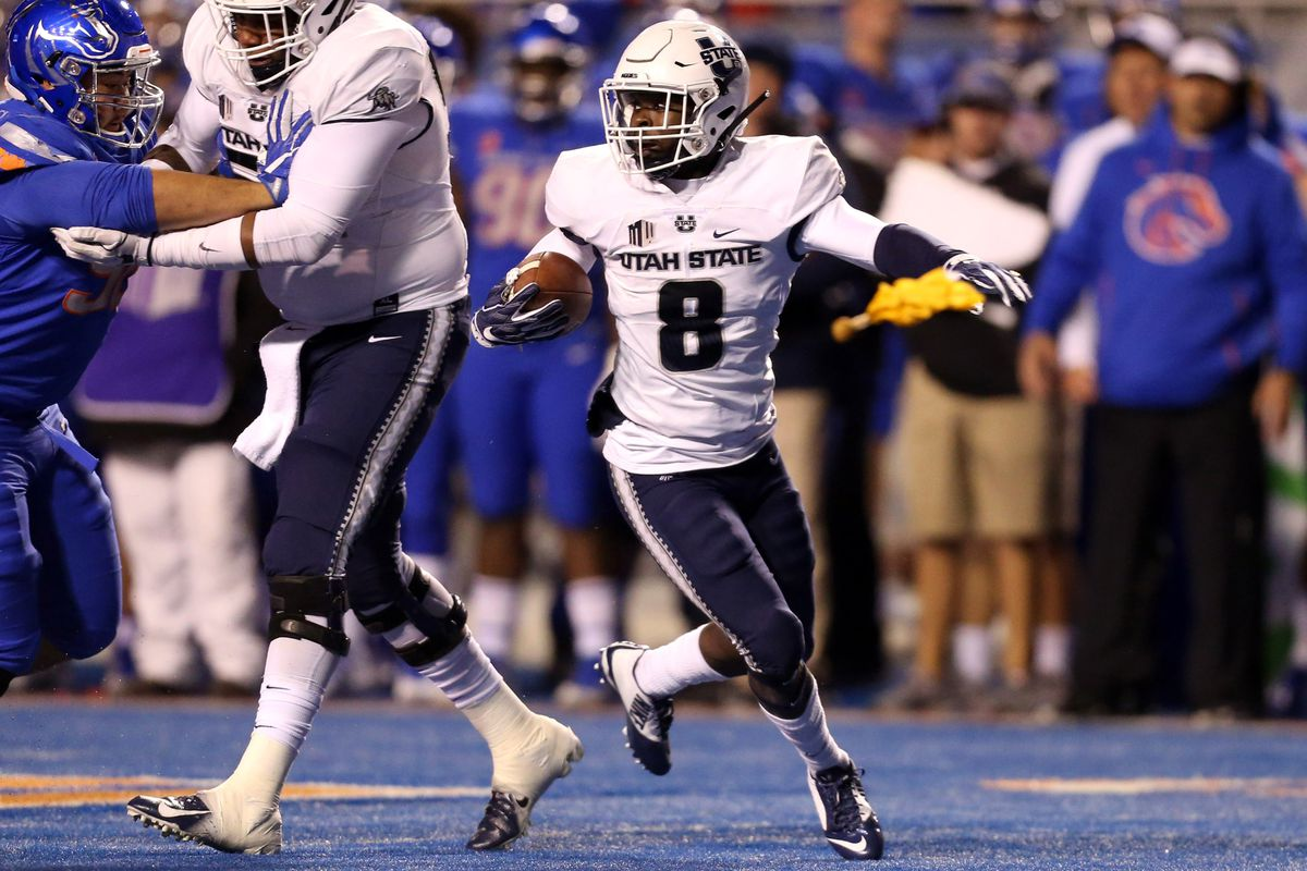 Utah State Aggies running back Gerold Bright during the first half of play against the Boise State Broncos at Albertsons Stadium.