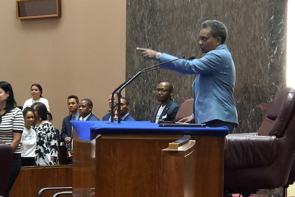 Mayor Lori Lightfoot tries out City Council chambers rostrum for first time