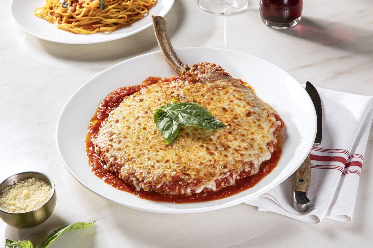 A veal chop Parmigiana at Terra Rossa, the new Italian restaurant at Red Rock Resort