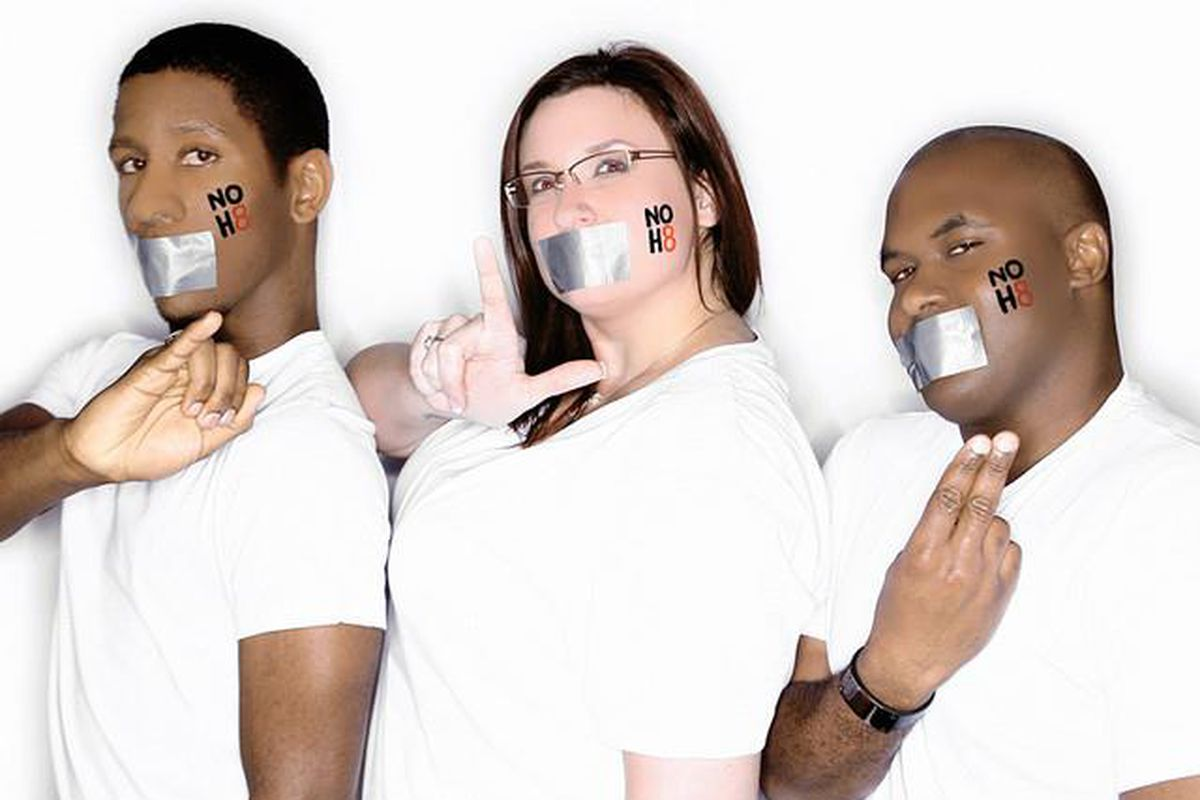 Carlin Yetts, right, participated in the NOH8 campaign