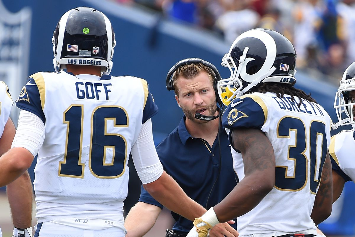 Los Angeles Rams HC Sean McVay congratulates QB Jared Goff and RB Todd Gurley after a touchdown against Washington, Sep. 17, 2017.