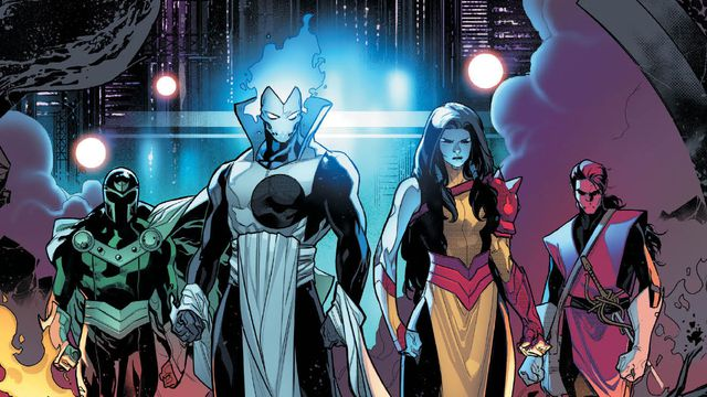 LTR: The Chimera mutant North, Xorn, the Chimera mutant Rasputin, and the Chimera mutant Cardinal striking a cool team pose in Powers of X #3, Marvel Comics (2019).