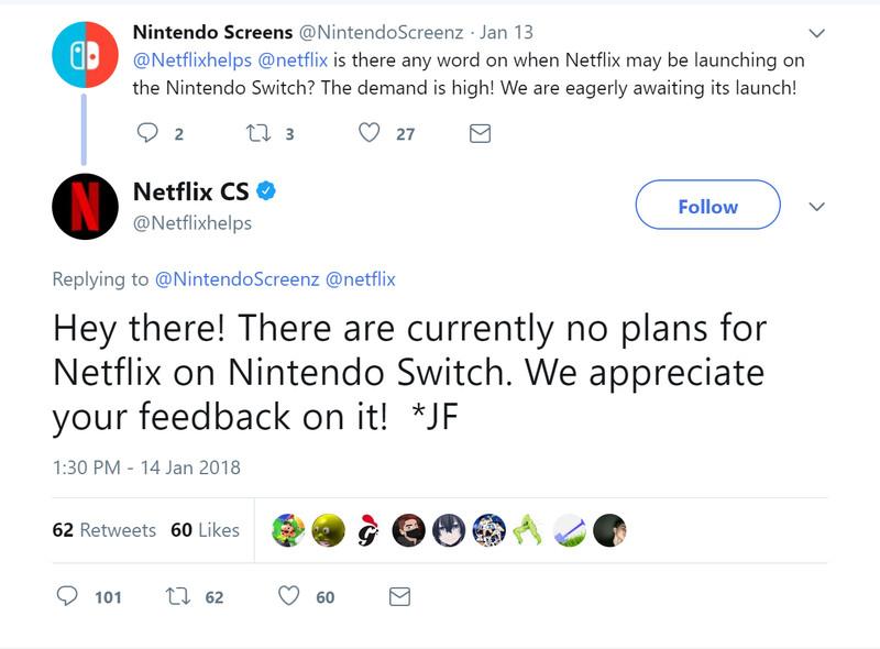 tweet from @Netflixhelps regarding Netflix app on Nintendo Switch