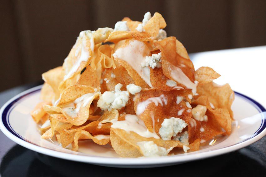 The oft-ordered warm blue cheese chips at Buckhead Diner.