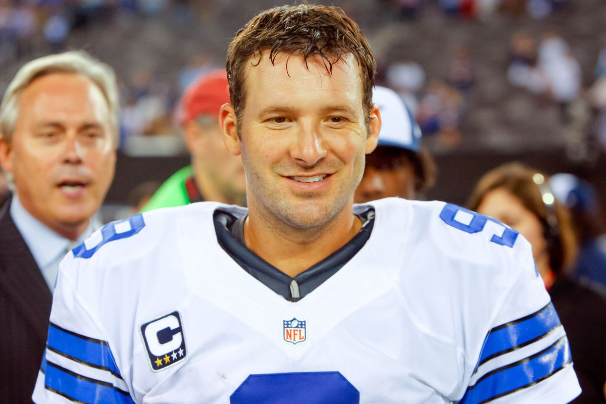 Sep 5, 2012; East Rutherford, NJ, USA;  Dallas Cowboys quarterback Tony Romo (9) during post game interview at MetLife Stadium. Dallas Cowboys defeat the New York Giants by a score of 24-17. Mandatory Credit: Jim O'Connor-US PRESSWIRE